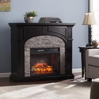 Harper Blvd Kelley Ebony and Gray Stacked Faux Stone Infrared Electric Fireplace