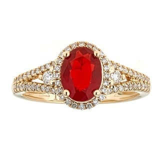 Anika and August 14k Yellow Gold Fire Opal and 1/3ct TDW Diamond Ring (G-H,I1-I2)