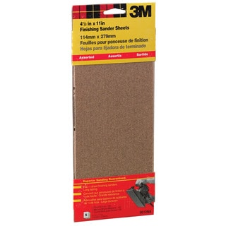 """3M 9012NA 4-1/2"""" X 11"""" Assorted Finishing Sander Sheets Clip-On"""