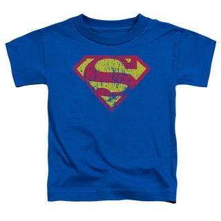 Superman/Classic Logo Distressed Short Sleeve Toddler Tee in Royal