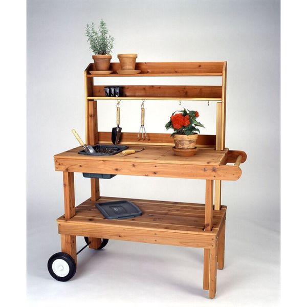 Salish Cedar Garden Red Stainless Steel Heavy-duty Cart
