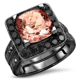 Noori 14k Black Gold Cushion-cut Morganite and Black Diamond Wedding Band Set