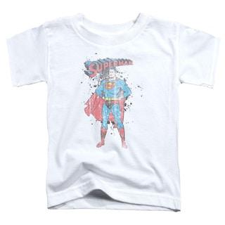 Superman/Vintage Ink Splatter Short Sleeve Toddler Tee in White