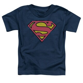 Superman/Distressed Shield Short Sleeve Toddler Tee in Navy