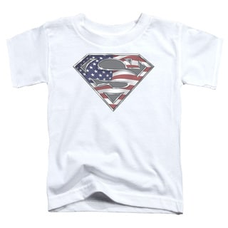 Superman/All American Shield Short Sleeve Toddler Tee in White