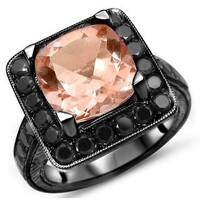 Noori 14k Black Gold Cushion-cut Morganite and Black Diamond Engagement Ring - White