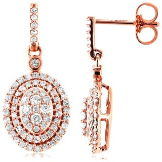 Annello 10k Rose Gold 1/2ct TDW Diamond Dangle Earrings (H-I, I2)