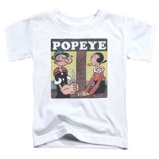 Popeye/Loves Olive Short Sleeve Toddler Tee in White