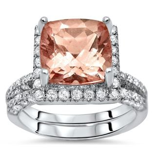 Noori 14k White Gold Pink Morganite and Diamond Halo Engagement Ring Set