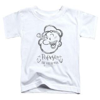 Popeye/Sketch Portrait Short Sleeve Toddler Tee in White