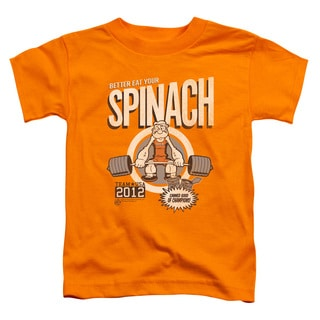 Popeye/Eat Your Spinach Short Sleeve Toddler Tee in Orange
