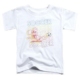 Popeye/Soccer Short Sleeve Toddler Tee in White
