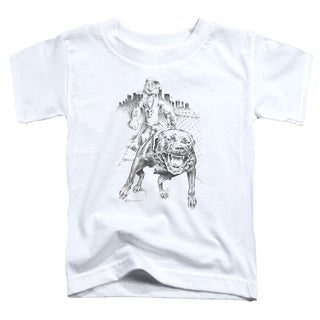 Popeye/Walking The Dog Short Sleeve Toddler Tee in White