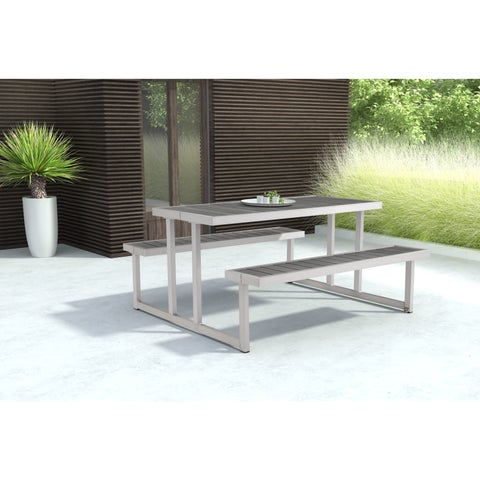 Cuomo Grey Galvanized Aluminum Picnic Table