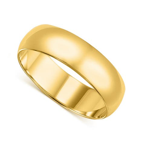 14k Yellow or White Gold Standard Fit Men and Women's 6 mm Wedding Band