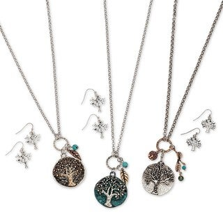 Tree Of Life Pendant Necklace and Pierced Earring Set