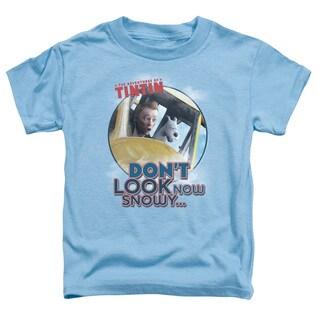 Tintin/Don't Look Now Short Sleeve Toddler Tee in Carolina Blue
