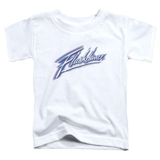 Flashdance/Logo Short Sleeve Toddler Tee in White