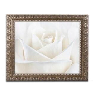 Cora Niele 'Pure White Rose' Ornate Framed Art