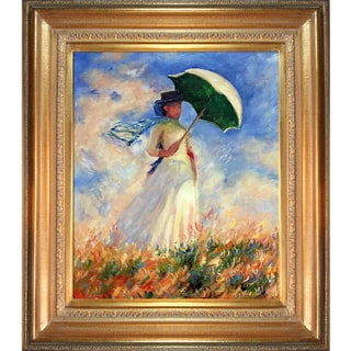 Claude Monet 'Woman with a Parasol' (Facing Right) Hand Painted Framed Canvas Art