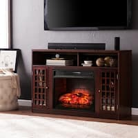 Oliver & James Leighton Espresso Media Console Infrared Electric Fireplace