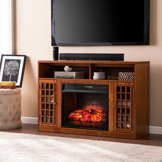 Harper Blvd Branick Glazed Pine Media Console Infrared Electric Fireplace - Thumbnail 0