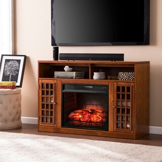 Oliver & James Leighton Glazed Pine Media Console Infrared Electric Fireplace