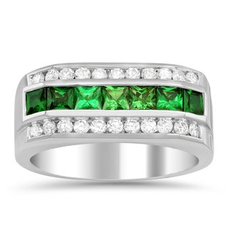 Artistry Collections 14k White Gold 4/5ct TDW Diamond and 1 1/2ct TGW Tsavorite Men's Ring