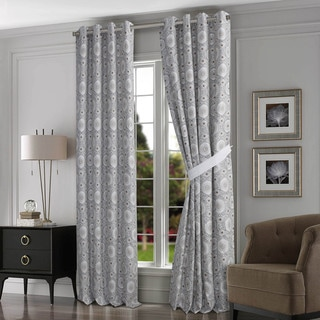 Tribeca Living Maldives Black/Tan Cotton Grommet-top Lined Curtain Panel Pair