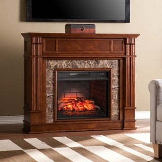Gracewood Hollow Belin Whiskey Maple Faux Stone Infrared Electric Media Fireplace