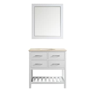Foligno White 36-inch Single-sink Vanity with Cream Marble Top and Mirror