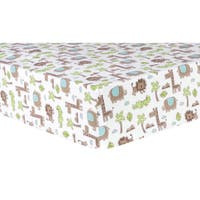 Trend Lab Sage Safari Animals Multicolored Cotton Flannel Deluxe Fitted Crib Sheet