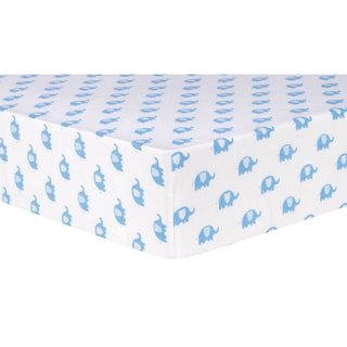 Trend Lab Blue Elephants Flannel Deluxe Fitted Crib Sheet