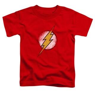 JLA/Destroyed Flash Logo Short Sleeve Toddler Tee in Red
