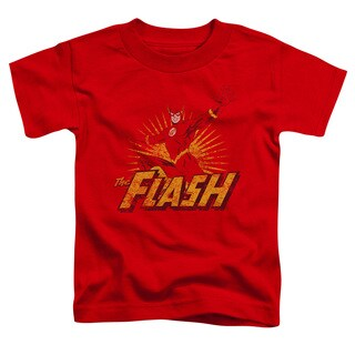 JLA/Flash Rough Distress Short Sleeve Toddler Tee in Red