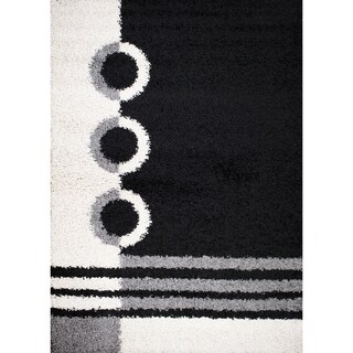 Mod Collection Yin Yang Black Polypropylene Rug (3'3 x 4'7)