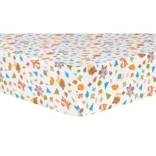 Trend Lab Woodsy Animals Cotton Flannel Deluxe Fitted Crib Sheet