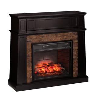 Harper Blvd Fitzgerald Black Faux Stone Infrared Electric Media Fireplace