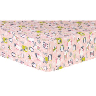Trend Lab Snow Pals Pink Flannel Deluxe Fitted Crib Sheet