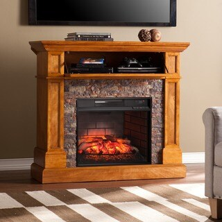 Gracewood Hollow Carr Stone Look Convertible Infrared Electric Media Fireplace