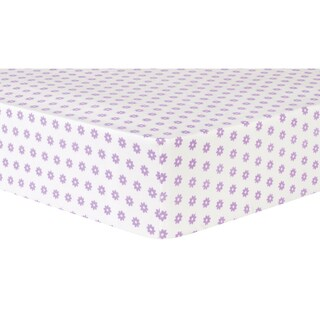 Trend Lab White/Purple Cotton Flannel Flower Fitted Crib Sheet