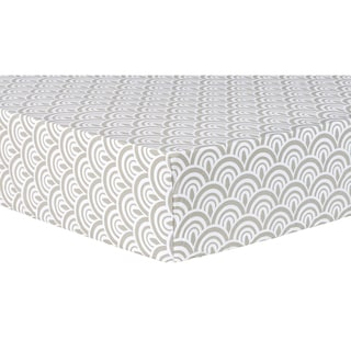 Trend Lab White/Grey Cotton Scallop Fitted Crib Sheet