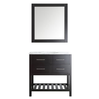 Foligno Espresso 36-inch Single Vanity with Carrara White Marble Top and Mirror