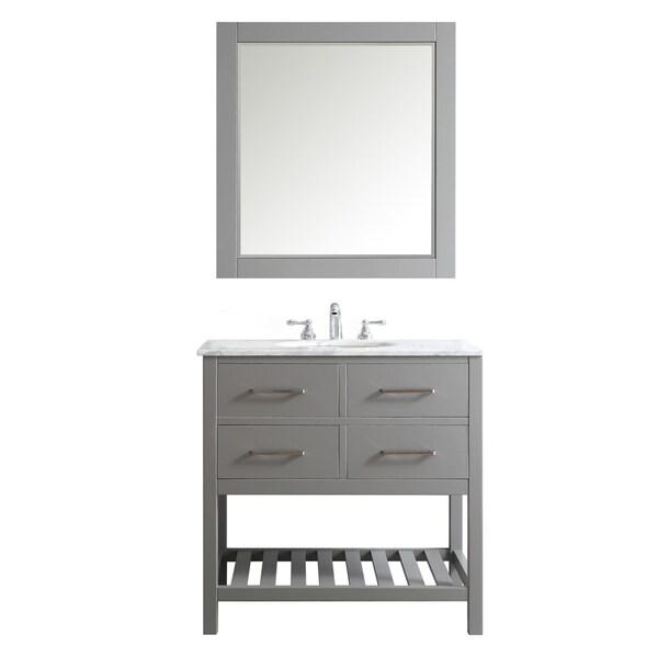 Shop Foligno Grey With Carrara White Marble Top 36 Inch