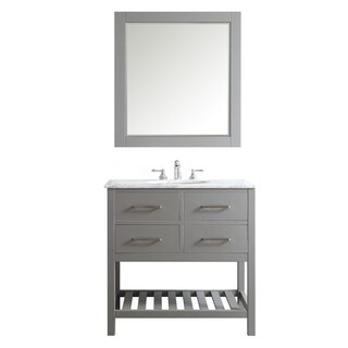 Foligno Grey with Carrara White Marble Top 36-inch Vanity with Mirror