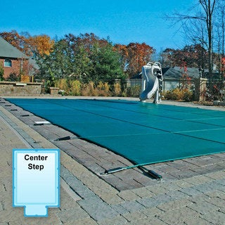 Green Mesh Rectangle Safety Pool Cover with 4-foot x 8-foot Center End Step