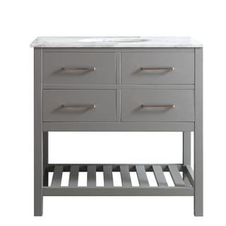 Foligno Grey 36-inch Single Vanity in Grey with Carrara White Marble Top