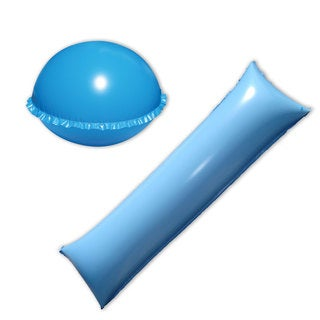 Blue Vinyl 2-piece Pool Cover Air Pillow Combo Pack