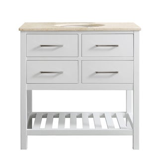 Foligno 36-inch Single Vanity in White with Creama Marfil Marble Top without Mirror