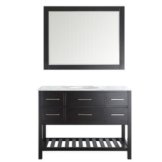 Foligno 48-inch Espresso/White Marble Single Vanity Top with Mirror